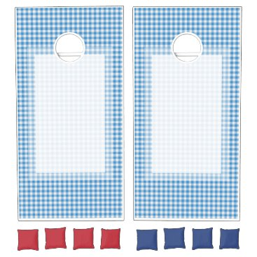 produkto Blue and White Checker Pattern Cornhole Set