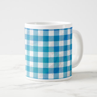 Blue and White Checkered Buffalo Plaid Giant Coffee Mug