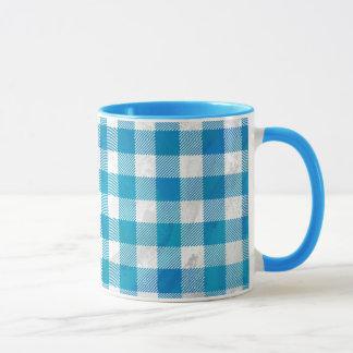 Blue and White Checkered Buffalo Plaid Mug