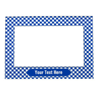 Blue and White Checkered Custom Photo Magnetic Frame