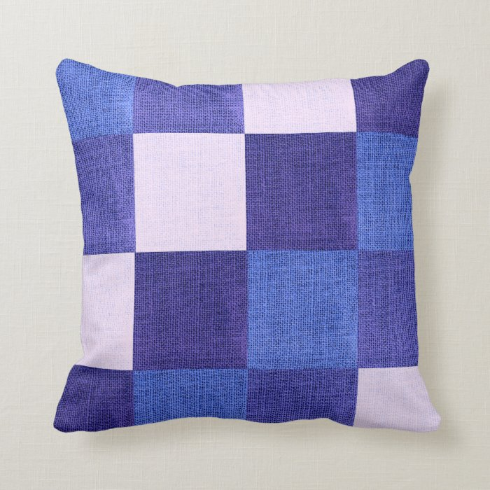 Blue White Throw Pillow : Blue and White Checkered Fabric Design Throw Pillow Zazzle
