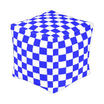 Blue and White Checkered Outdoor Pouf