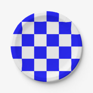 Blue and White Checkered Paper Plate  sc 1 st  Zazzle & Blue And White Checked Plates | Zazzle