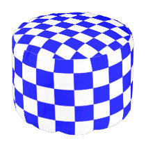 Blue and White Checkered Pouf