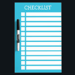 "Blue And White Checklist Dry Erase Board<br><div class=""desc"">Simple checklist design in blue and white color scheme. The top title is customizable to any other text as well.</div>"