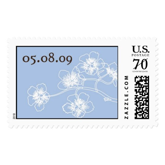 Blue and White Cherry Blossoms Postage