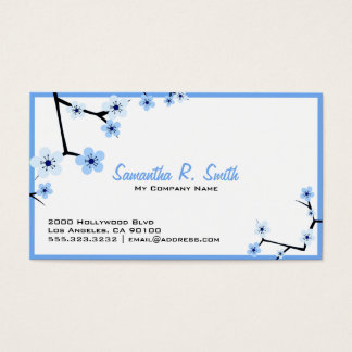 Blue and White Chery Blossum Business Card