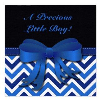 Blue and White Chevron Baby Boy Shower Invitation