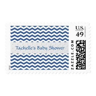 Blue and White Chevron Custom Baby Shower Postage