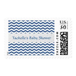 Blue and White Chevron Custom Baby Shower Postage
