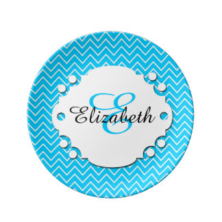 Blue and White Chevron Monogrammed Plaque Plate