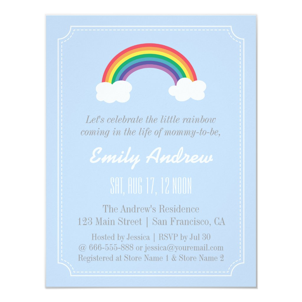 Blue and White Chevron, Rainbow Baby Shower Card