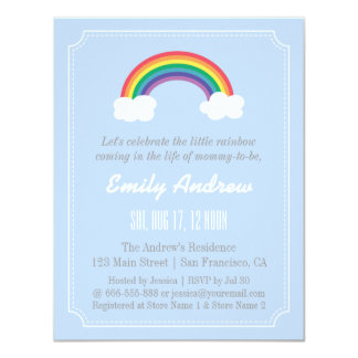 Blue and White Chevron, Rainbow Baby Shower Card
