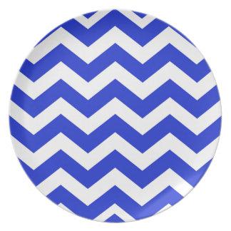Blue And White Chevron Stripes Dinner Plate
