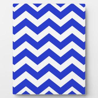 Blue And White Chevron Stripes Plaque
