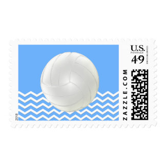 Blue and White Chevron Volleyball Postage Stamps