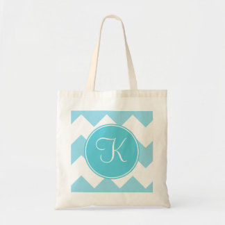 Blue and White Chevron with Blue Monogram Budget Tote Bag