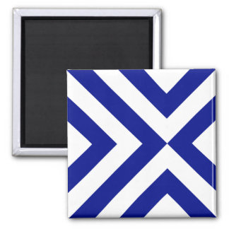 Blue and White Chevrons 2 Inch Square Magnet