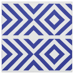 Blue and White Chevrons and Diamonds Geometric Fabric