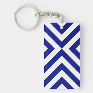 Blue and White Chevrons Keychain
