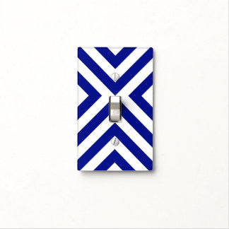Blue and White Chevrons Light Switch Cover