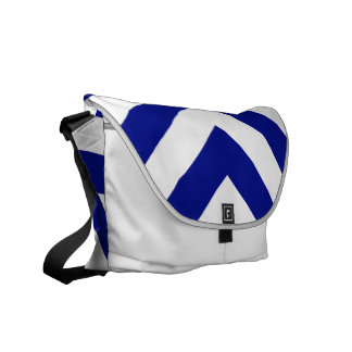 Blue and White Chevrons Messenger Bags