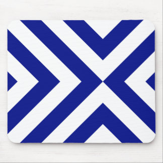 Blue and White Chevrons Mouse Pad