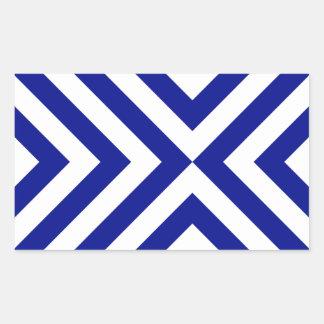 Blue and White Chevrons Rectangular Sticker
