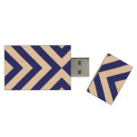 Blue and White Chevrons Wood USB 3.0 Flash Drive