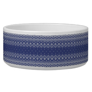 Blue and White Christmas Abstract Knitted Pattern Bowl