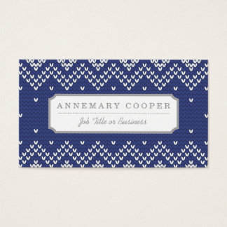 Blue and White Christmas Abstract Knitted Pattern Business Card