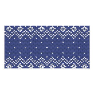 Blue and White Christmas Abstract Knitted Pattern Card