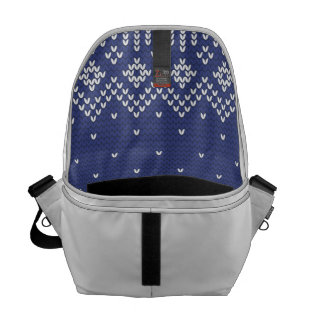 Blue and White Christmas Abstract Knitted Pattern Courier Bag