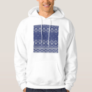 Blue and White Christmas Abstract Knitted Pattern Hoody