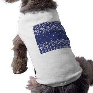 Blue and White Christmas Abstract Knitted Pattern Shirt