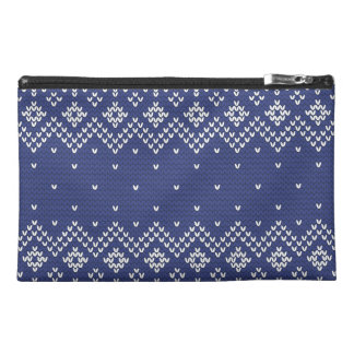Blue and White Christmas Abstract Knitted Pattern Travel Accessory Bags