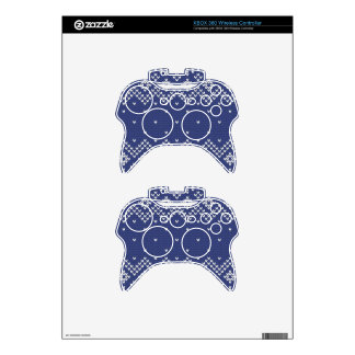 Blue and White Christmas Abstract Knitted Pattern Xbox 360 Controller Skin
