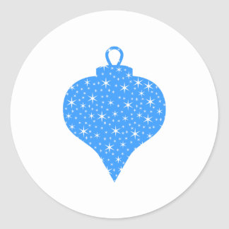 Blue and White Christmas Bauble Design. Classic Round Sticker