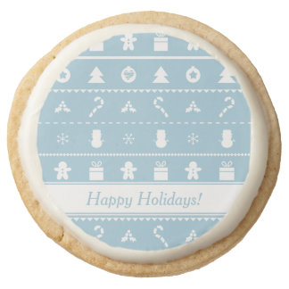 Blue and White Christmas Icons Sweet Treats Round Shortbread Cookie
