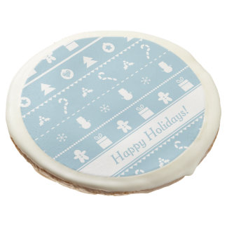 Blue and White Christmas Icons Sweet Treats Sugar Cookie