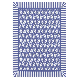 Blue And White Christmas Mittens And Snowflakes Tablecloth