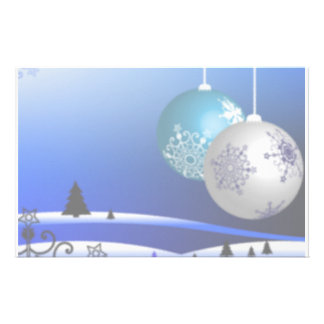 Blue and White Christmas Personalized Stationery