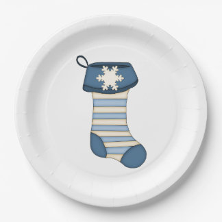 Blue and White Christmas Stocking Paper Plate