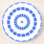 Blue And White Circle Pattern Drink Coasters