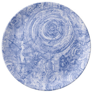 Blue and White Circles Plate