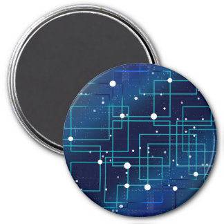 Blue and White Circuit Board Magnet