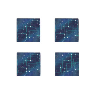 Blue and White Circuit Board Stone Magnet