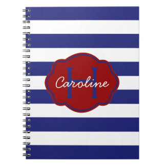 Blue and White Classic Horizontal Stripe Spiral Notebook