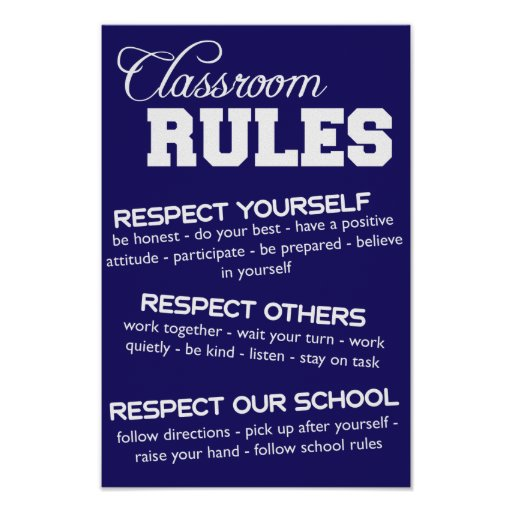 Blue and White Classroom Rules Poster