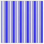 [ Thumbnail: Blue and White Colored Lined Pattern Fabric ]